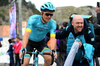 GRAZALEMA SPAIN FEBRUARY 19 Arrival Jakob Fuglsang of Denmark and Astana Pro Team Celebration during the 66th Vuelta a Andaluca Ruta del Sol 2020 Stage 1 a 1738km stage from Alhaurn de la Torre to Grazalema 911m VCANDALUCIA UCIProSeries on February 19 2020 in Grazalema Spain Photo by David RamosGetty Images