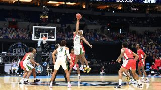 The Baylor Bears and the Houston Cougars tip off to begin their Final Four semifinal game of the 2021 NCAA Men's Basketball Tournament at Lucas Oil Stadium on April 3, 2021 in Indianapolis, Indiana.