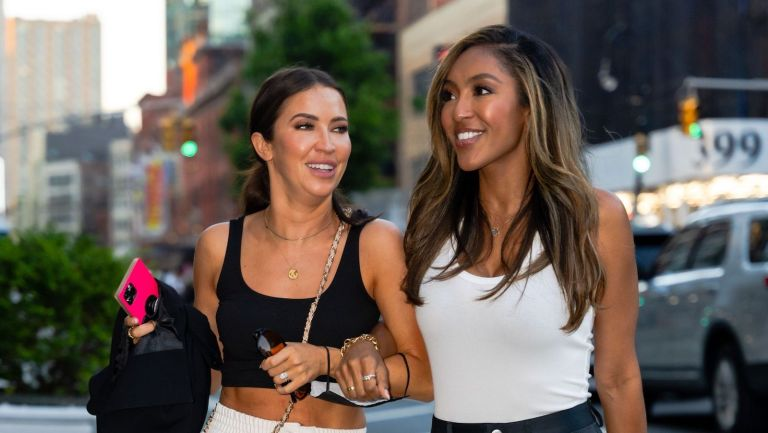 The Bachelorette; Kaitlyn Bristowe (L) and Tayshia Adams are seen in NoHo on June 10, 2021 in New York City.