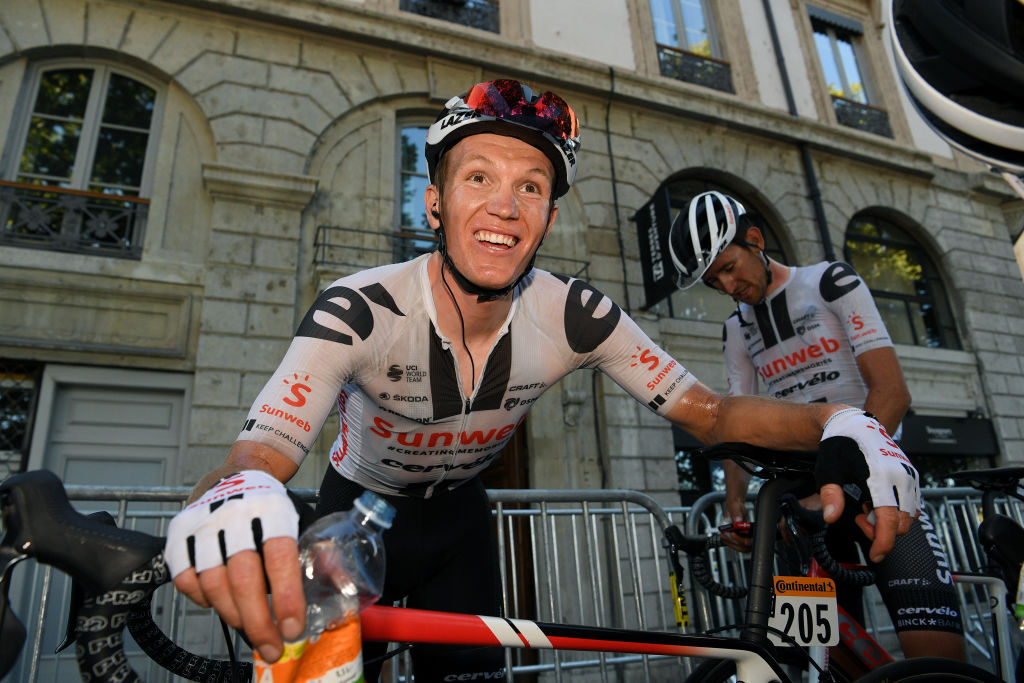 LYON FRANCE SEPTEMBER 12 Arrival Soren Kragh Andersen of Denmark and Team Sunweb Celebration during the 107th Tour de France 2020 Stage 14 a 194km stage from ClermontFerrand to Lyon TDF2020 LeTour on September 12 2020 in Lyon France Photo by Frank Faugere PoolGetty Images