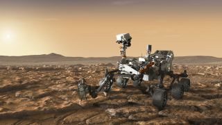 Another artist's concept showing NASA's Perseverance rover exploring Mars.