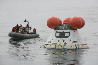 Boat Approaches the Orion Test Device
