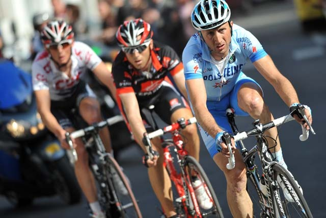 Davide Rebellin leads Alejandro Valverde and Frank Schleck