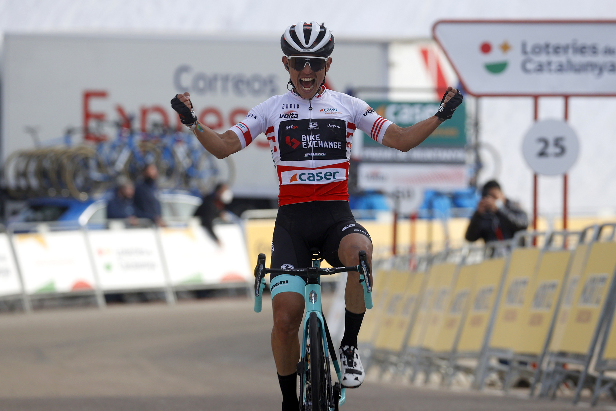 Esteban Chaves celebrates his victory at the Volta a Catalunya