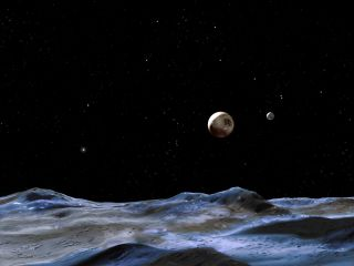 This artist's illustration shows Pluto and some of its moons, as viewed from the surface of one of the moons. Pluto shines as the large object at center, while Charon glimmers as a smaller disk to the right. Image released June 13, 2014.