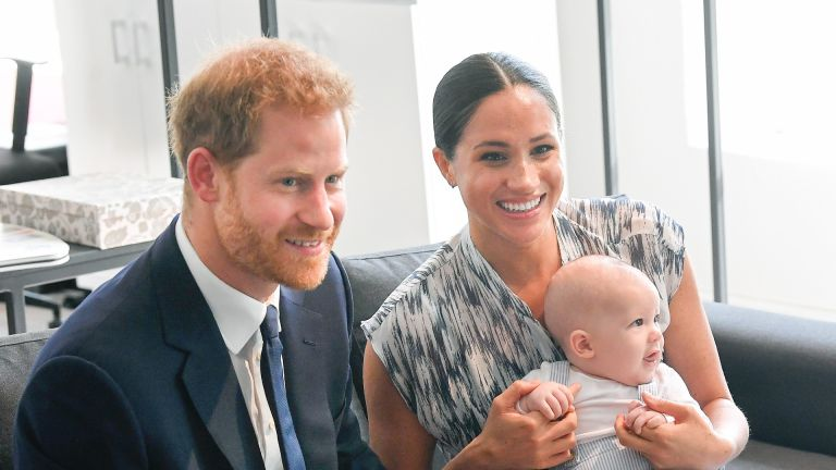 Prince Harry and Duchess Meghan of Sussex and their baby son Archie Mountbatten-Windsor meet Archbishop Desmond Tutu and his daughter Thandeka Tutu-Gxashe at the Desmond & Leah Tutu Legacy Foundation during their royal tour of South Africa on September 25, 2019 in Cape Town, South Africa