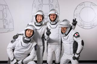 SpaceX's Crew-2 astronauts. From the left, ESA astronaut Thomas Pesquet, NASA astronauts Megan McArthur and Shane Kimbrough and JAXA astronaut Akihiko Hoshide.