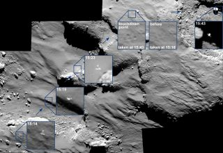 The European Space Agency's Rosetta spacecraft captured these photos of the Philae lander descending toward, and then bouncing off, the surface of Comet 67P/Churyumov–Gerasimenko during its historic touchdown on Nov. 12, 2014.