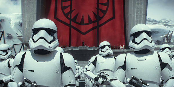The First Order Stormtroopers gathered on Starkiller Base