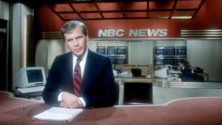Tom Brokaw broadcasts the news November 4, 1987 from the set of NBC's Nightly News in New York City.