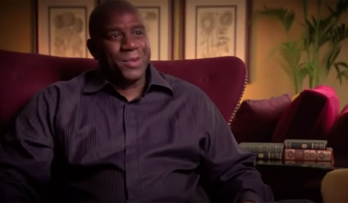 Magic Johnson being interviewed for a documentary.
