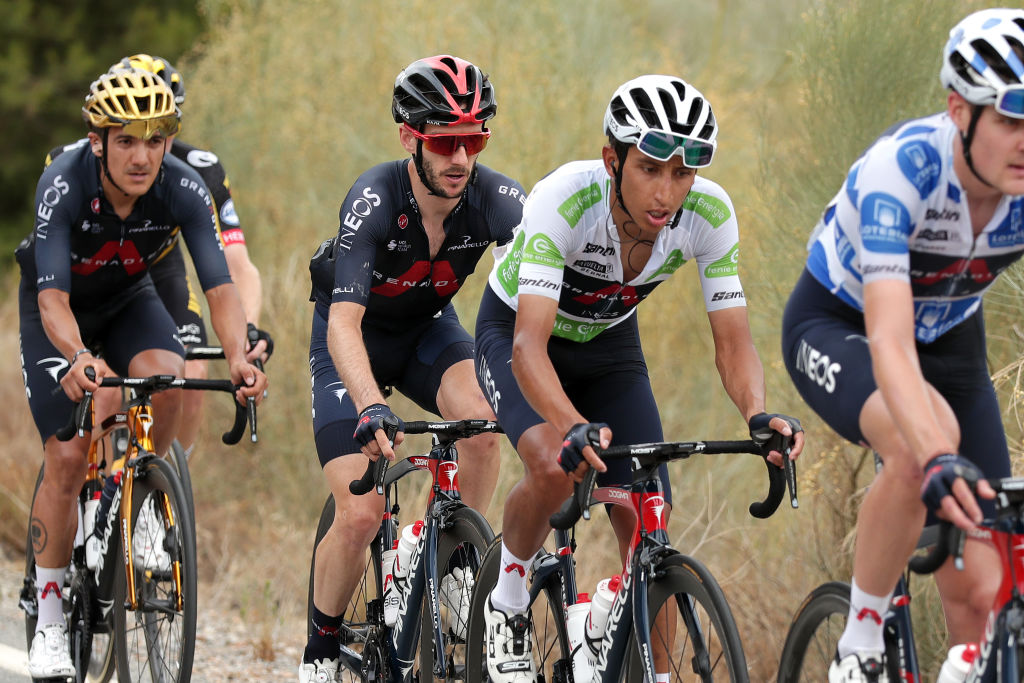 VELEFIQUE SPAIN AUGUST 22 Adam Yates of United Kingdom and Team INEOS Grenadiers and Egan Arley Bernal Gomez of Colombia and Team INEOS Grenadiers white best young jersey compete during the 76th Tour of Spain 2021 Stage 9 a 188 km stage from Puerto Lumbreras to Alto de Velefique 1800m lavuelta LaVuelta21 on August 22 2021 in Velefique Spain Photo by Gonzalo Arroyo MorenoGetty Images