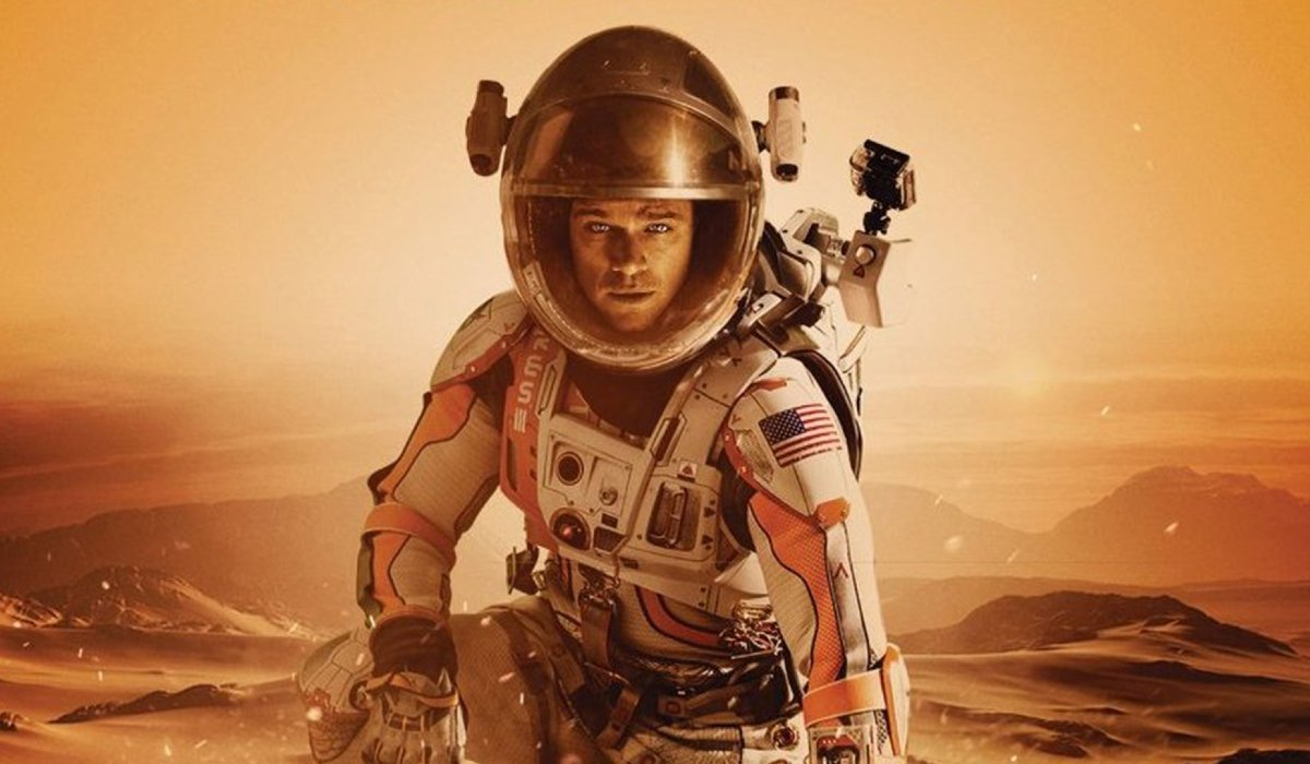 The Martian Mark Watney, suited up, on Mars