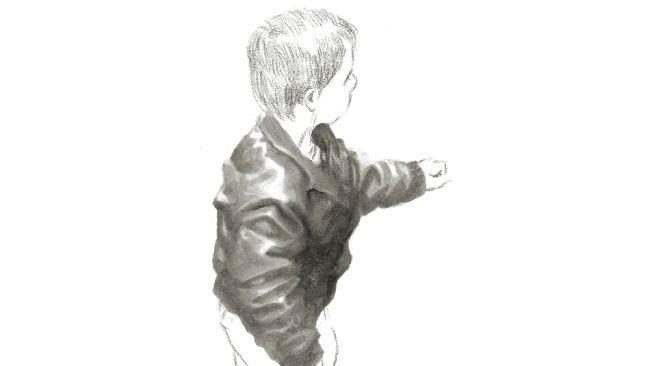 Sketsa seseorang yang mengenakan jaket kulit