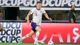 Matthew Hoppe playing soccer for USA in the 2021 Gold Cup