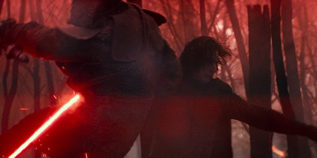 Kylo Ren taking down a foe in Star Wars: The Rise of Skywalker