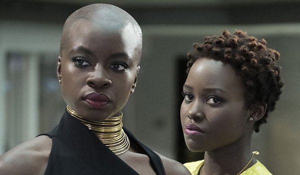 Danai Gurira as Okoye and Lupita Nyong'o as Nakia are two strong female characters in Black Panther