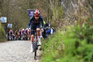 Tom Pidcock (Ineos Grenadiers) on the move at the Tour of Flanders