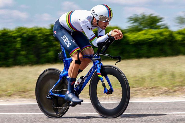 Filippo Ganna on stage 21 of the 2021 Giro d'Italia