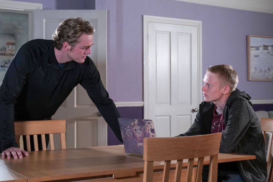 Peter Beale gives Bobby a hard time in EastEnders