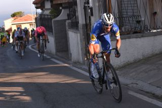 Deceuninck-QuickStep's Julian Alaphilippe attacks on the climb of the Poggio at the 2019 Milan-San Remo. The Frenchman would eventually win the Italian Monument in a reduced-bunch sprint