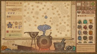 An alchemist's workbench in an illustrated style from Potion Craft: Alchemy Simulator. There are gameplay menus on either side.