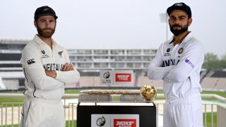 Rival captains Kane Williamson of New Zealand and Virat Kohli of India pose with the ICC ICC World Test Championship mace ahead of the final at The Ageas Bowl.