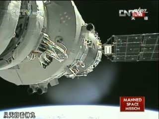 View of Shenzhou 9 docked at Tiangong 1 space laboratory on June 24, 2012 after manual docking.