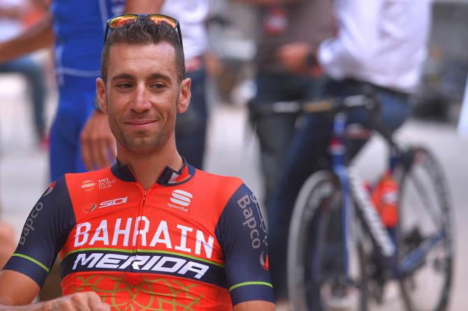 Former winner Vincenzo Nibali in relaxed mood at the teams presentation