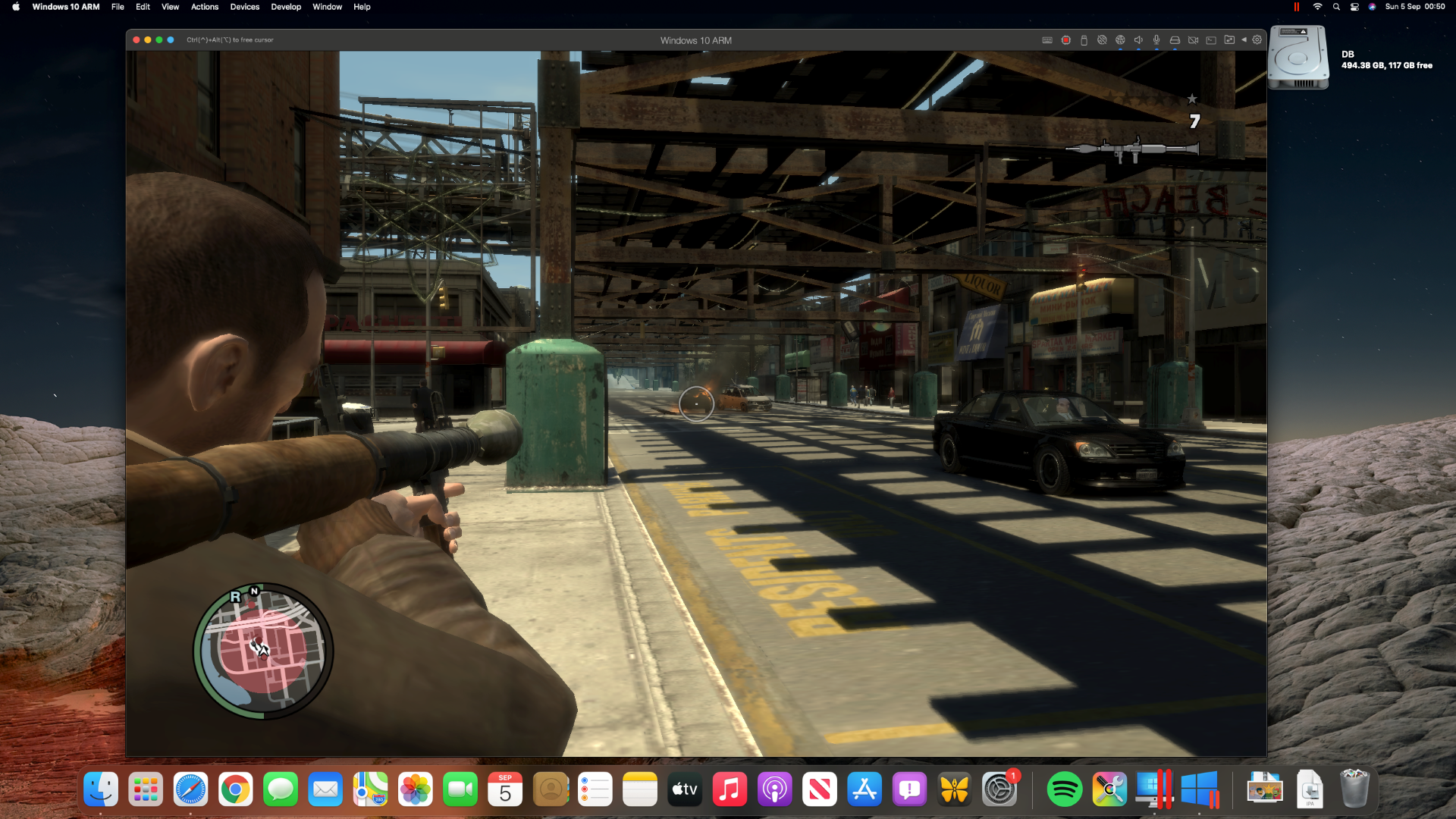 GTA IV being played in Parallels Desktop on a M1 Mac mini