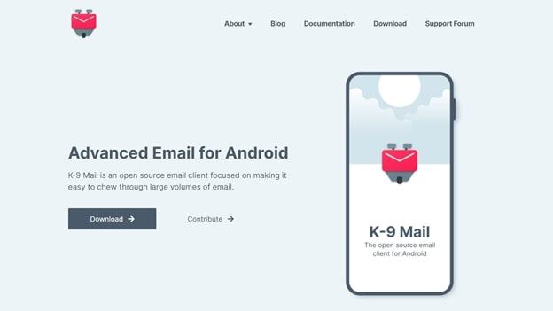 K-9's app homepage
