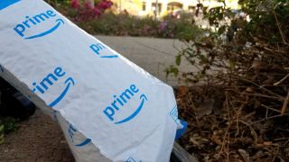Close-up of Amazon Prime package outdoors in an office park