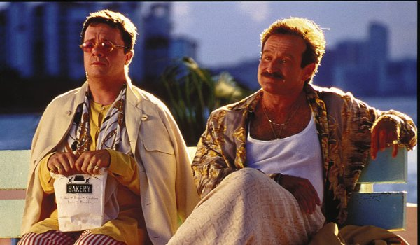 The Birdcage Nathan Lane sits on a park bench with Robin Williams