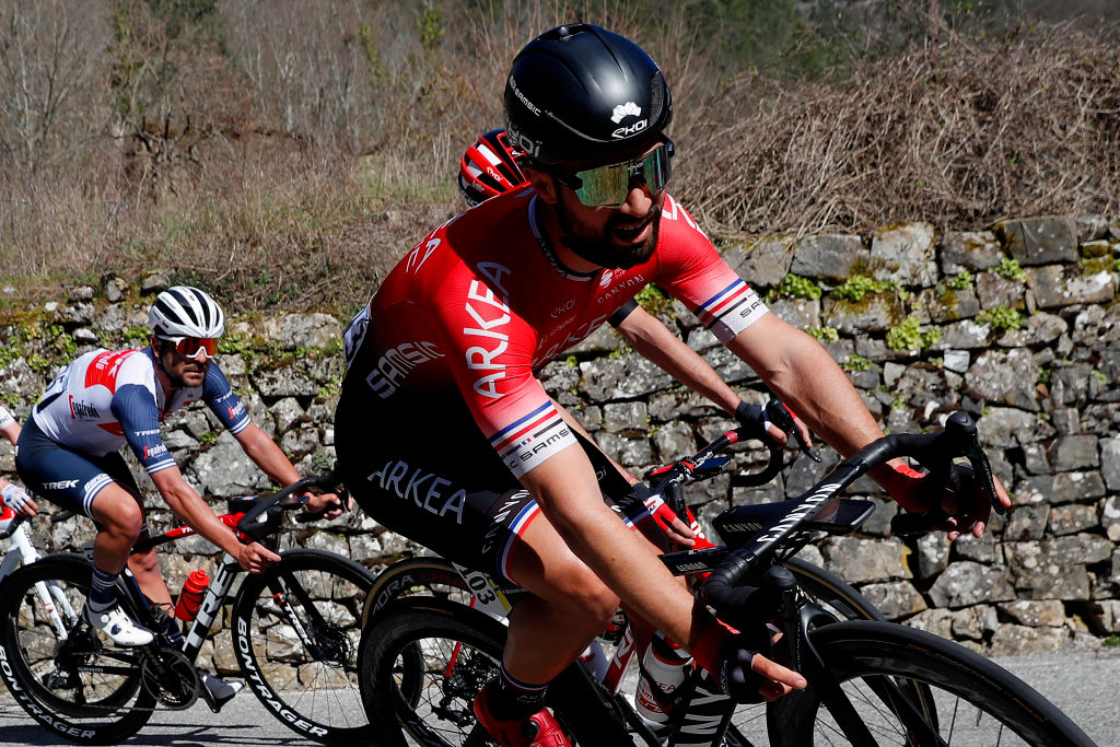 LEVENS FRANCE MARCH 14 Jacopo Mosca of Italy and Team Trek Segafredo Nacer Bouhanni of France and Team Arkea Samsic during the 79th Paris Nice 2021 Stage 8 a 927km stage from Le PlanduVar to Levens 518m Stage itinerary redesigned due to COVID19 lockdown imposed in the city of Nice ParisNice on March 14 2021 in Levens France Photo by Bas CzerwinskiGetty Images