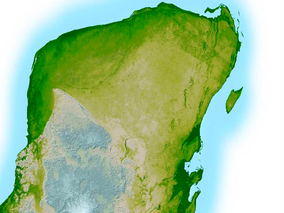 In this computer-enhanced image, Chicxulub crater's outer boundary is visible as the semi-circular, darker green line in the Yucatan Peninsula's upper left corner — a trough that's just 10 to 15 feet (3 to 5 meters) deep and 3 miles (5 kilometers) wide.