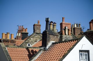 Variety of chimneys on rooftops