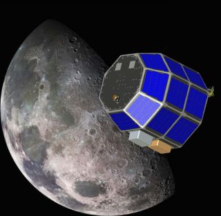 an illustration of NASA's Lunar Atmosphere and Dust Environment Explorer mission