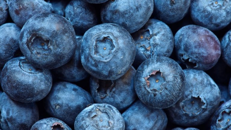 Close up of bunch of blueberries - stock photo