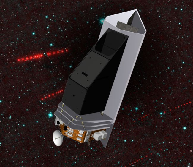 An artist's illustration of the proposed NEOCam spacecraft, which would hunt for asteroids that could pose a threat to Earth.
