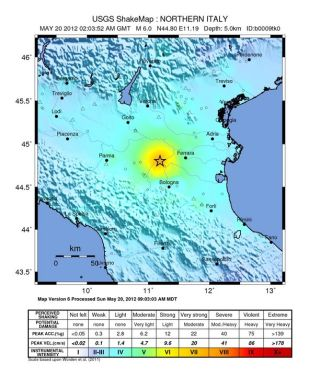 The intensity of shaking from the 6.0 magnitude earthquake that struck northern Italy on May 20, 2012.