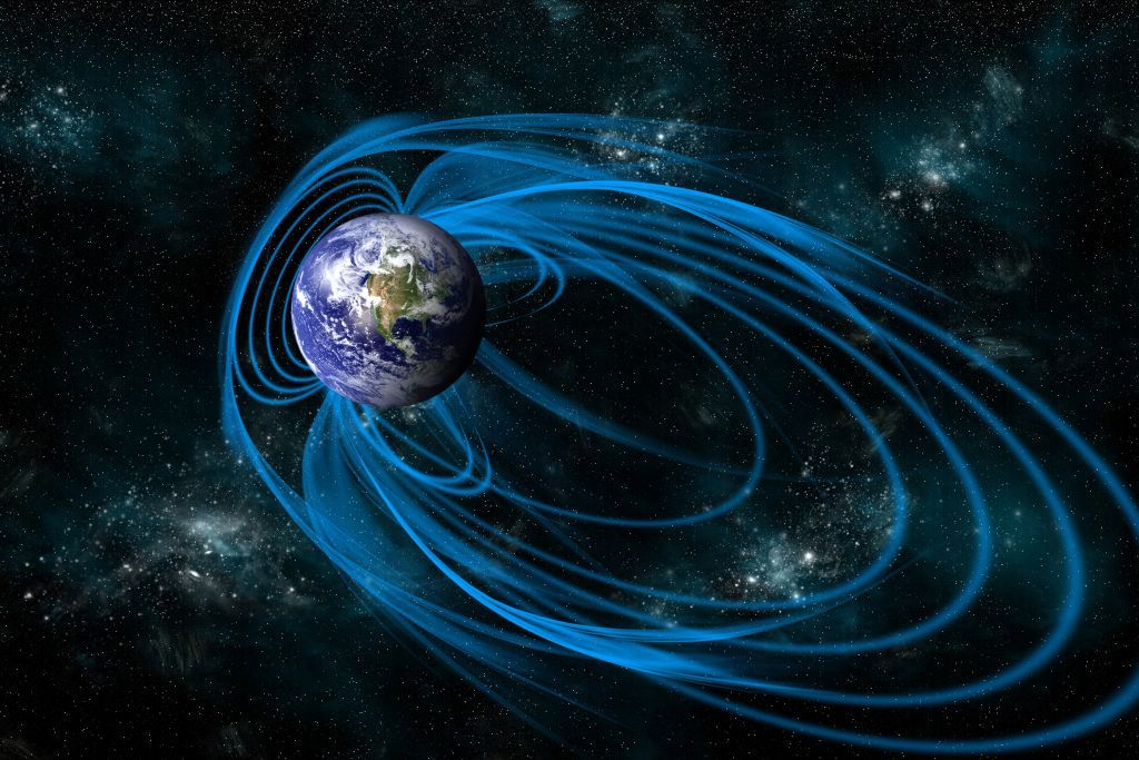 An illustration of Earth's magnetic field.
