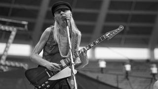 Johnny Winter with his Firebird, Atlanta Stadium - August 16, 1977