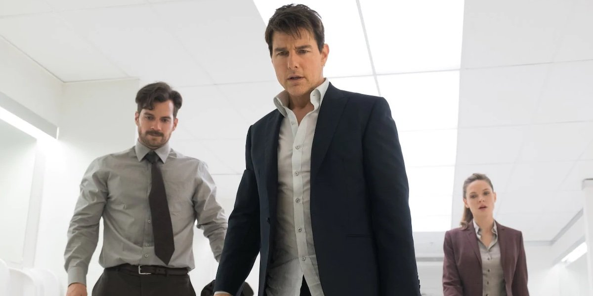 Henry Cavill, Tom Cruise and Rebecca Ferguson in Mission Impossible Fallout