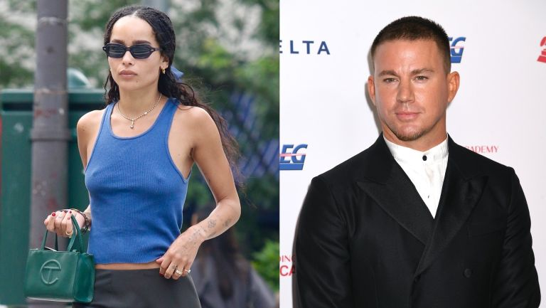 side by side photo of Zoë Kravitz in a blue dress and sunglasses and channing tatum in a black suit with a white shirt against a white backdrop; Are Channing Tatum and Zoë Kravitz dating
