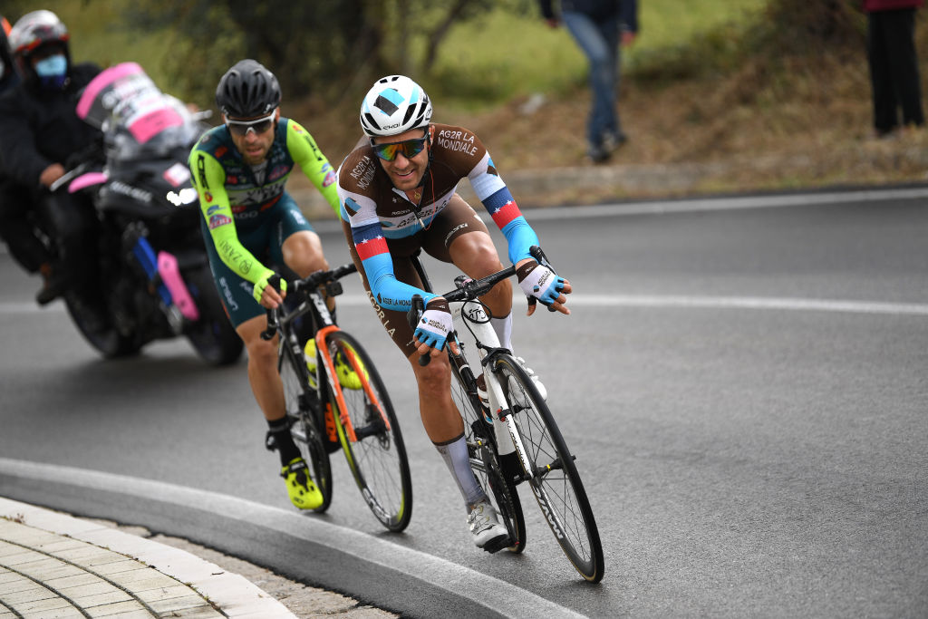 ROCCARASO ITALY OCTOBER 11 Larry Warbasse of The United States and Team Ag2R La Mondiale Giovanni Visconti of Italy and Team Vini Zabu KTM Breakaway during the 103rd Giro dItalia 2020 Stage 9 a 207km stage from San Salvo to Roccaraso Aremogna 1658m girodiitalia Giro on October 11 2020 in Roccaraso Italy Photo by Tim de WaeleGetty Images
