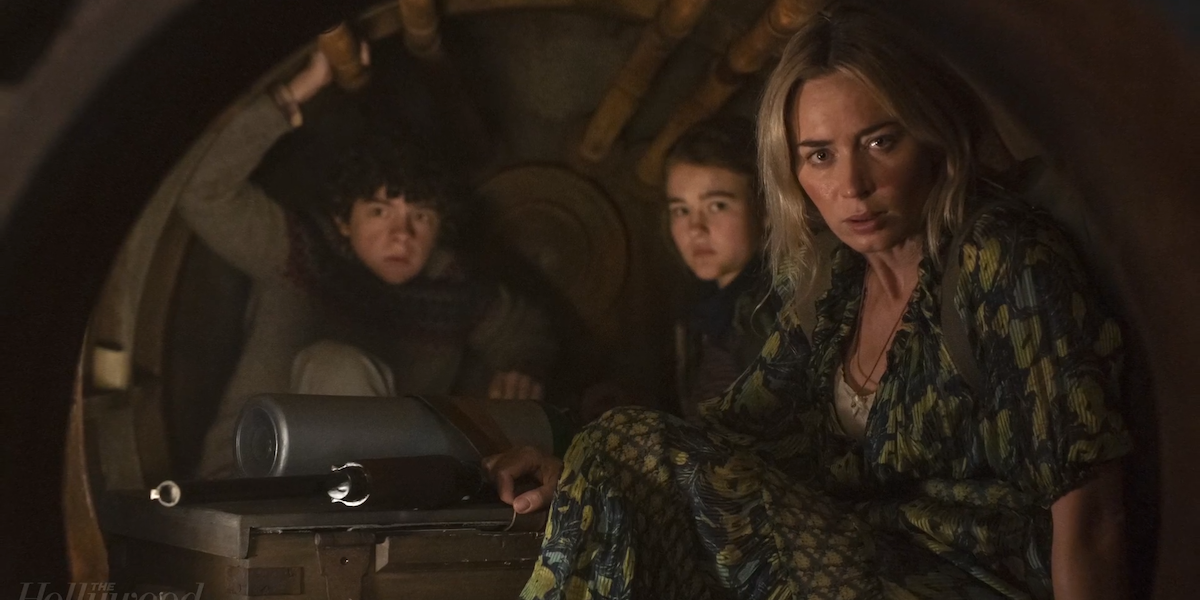 Noah Jupe, millicent simmonds and emily blunt in quiet place 2