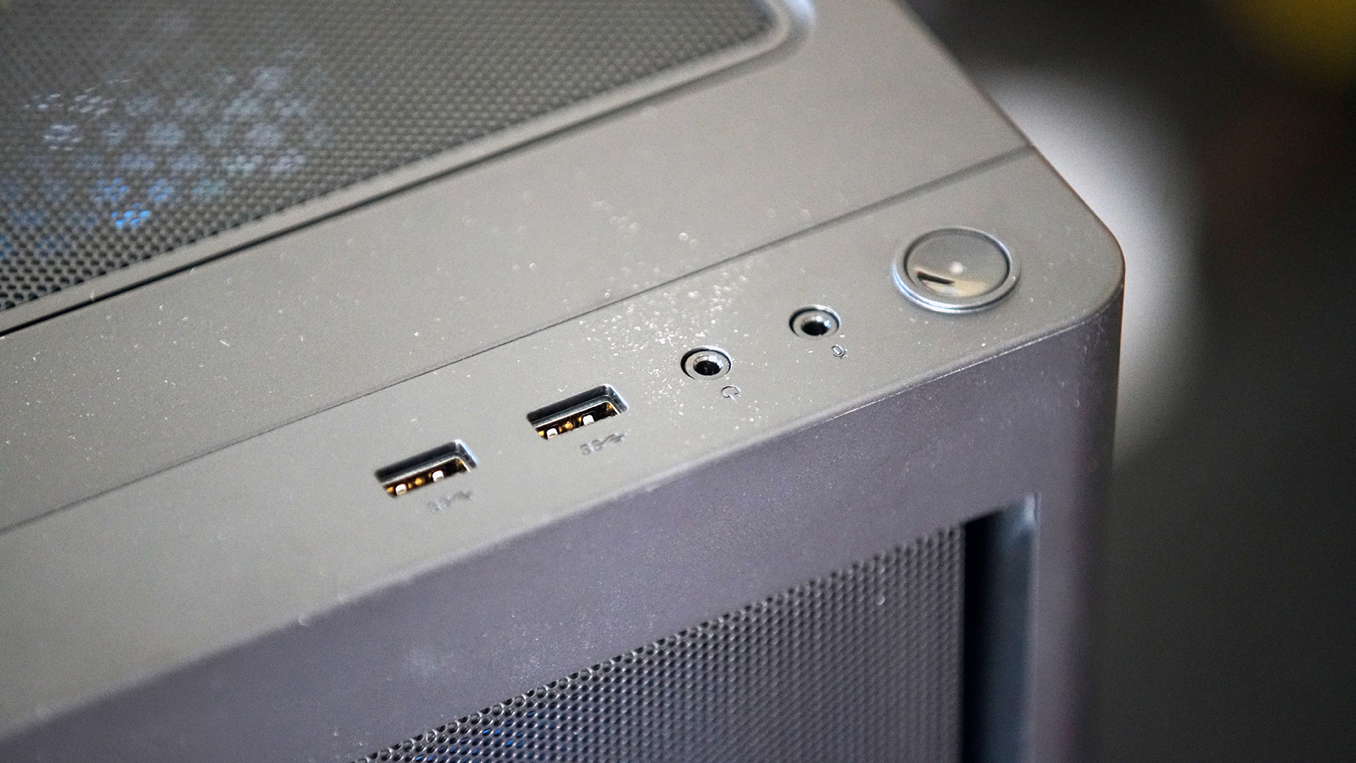 Lenovo Legion 5i top and front of case, showing front ports and power button