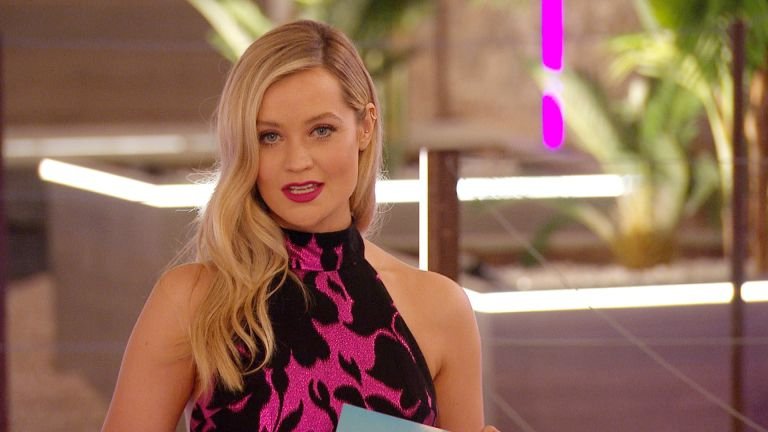 Laura Whitmore presenting an episode of Love Island UK