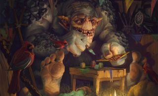 Shupe, the troll who runs Gwent's in-game shop, prepares some new cards