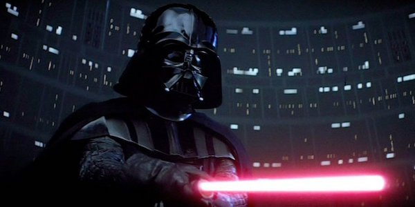 Darth Vader wielding red lightsaber in The Empire Strikes Back
